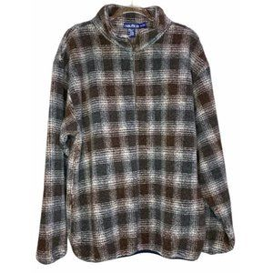 Nautica Plaid Fuzzy Teddy Oversized Dad Pullover